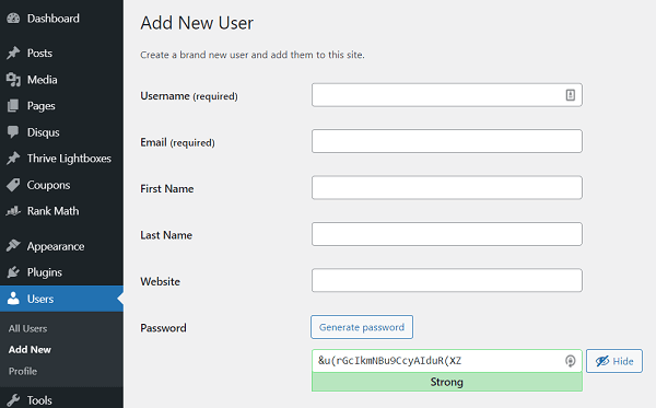 new-user-wordpress