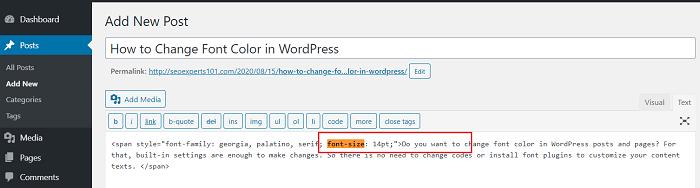 change font size wordpress