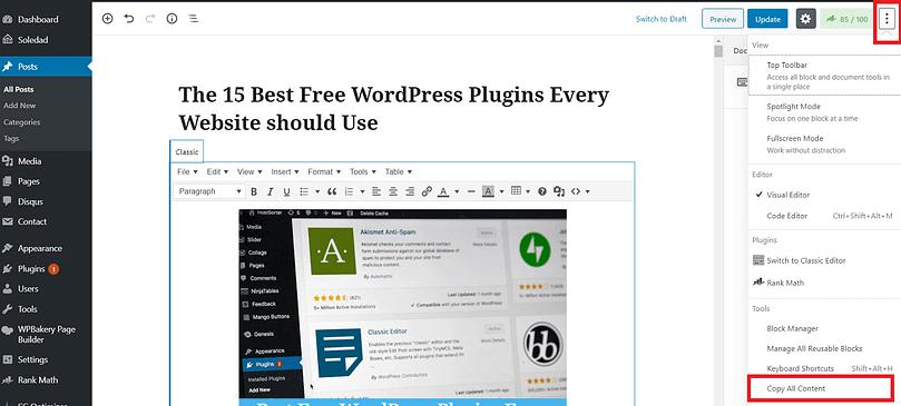 Duplicate WordPress page block editor