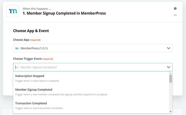 MemberPress zapier integration