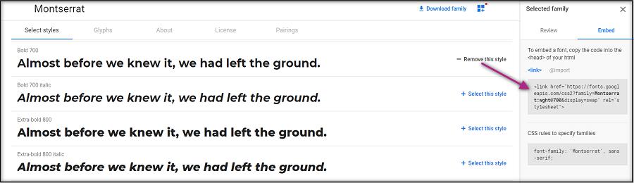 Embed Google Fonts